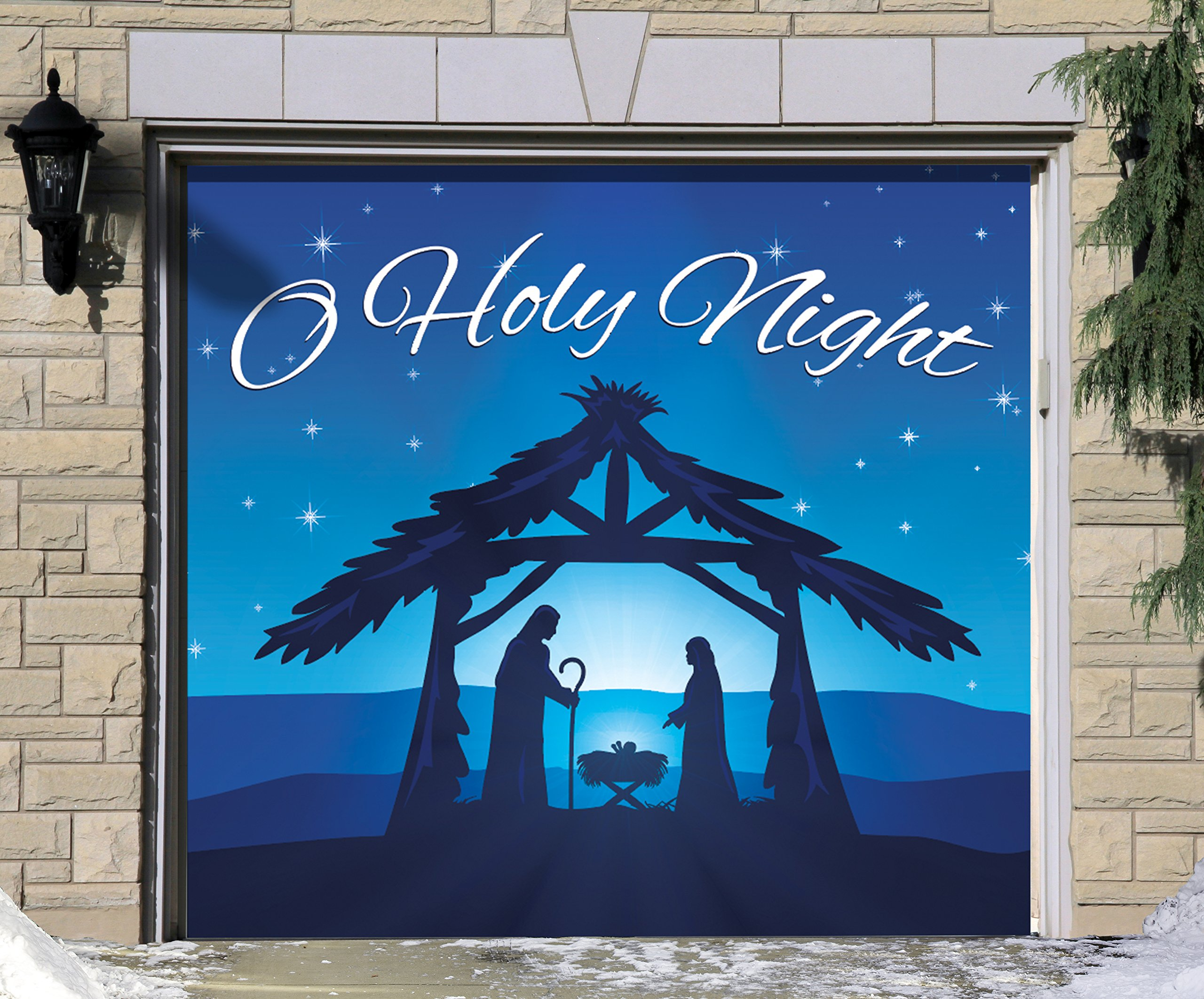 Outdoor Christmas Holiday Garage Door Banner Cover Mural Décoration - Nativity Scene O Holy Night - Outdoor Christmas Holiday Garage Door Banner Décor Sign 7'x8'
