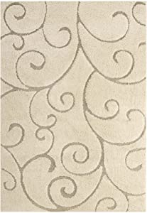 Modway Jubilant Burgeon Scrolling Vine 5x8 Area Rug With High-Low Shag Pile In Creame and Beige