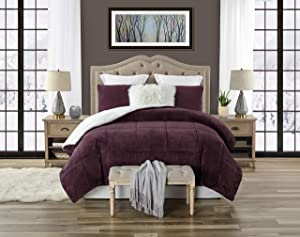 Swift Home Premium Ultra-Soft Faux Fur 3-Piece Sherpa Reversible Comforter and Sham Set - Full/Queen, Wine