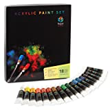 Acrylic Paint Set by Royal Art Supplies - 18x12ml Best for Painting Fabric, Canvas, Glass, Plastic, Clay, Nail Art, Ceramic - This Cheap Acrylic Paint Kit Great for Beginners, & Professional Artists