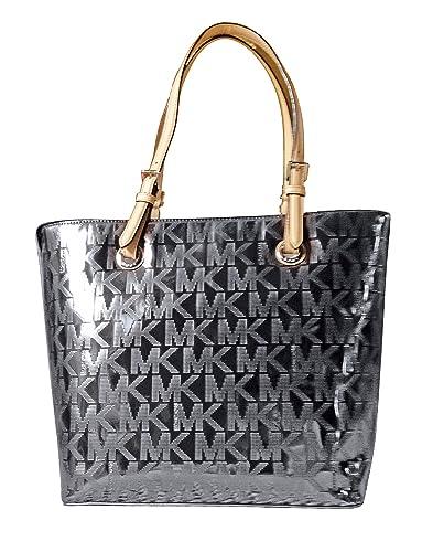 287cbc0a491754 Amazon.com: Michael Kors Jet Set Item Grab Bag MK Signature Mirror Metallic  Tote Purse Handbag, Work School Office Travel Laptop Ipad Book (Nickel):  Shoes