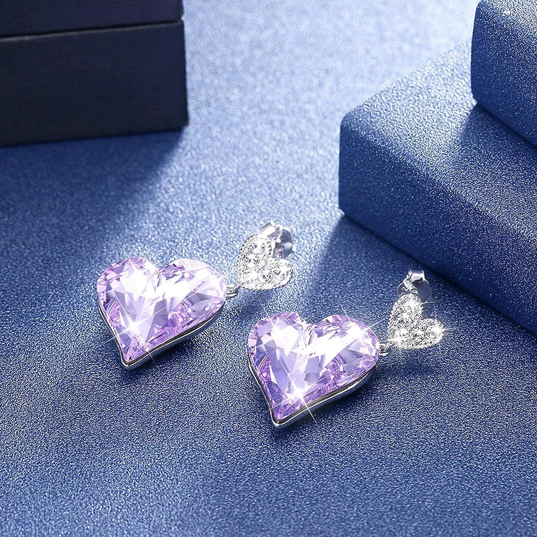 EoCot Silver Plated Stud Earrings for Women Girls with Crystal Heart Dangle Earrings