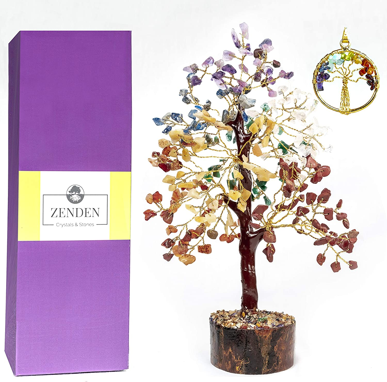 ZENDEN Seven Chakra Natural Healing Gemstone Crystal Bonsai Fortune Money Tree for Good Luck, Wealth & Prosperity-Home Office Decor Spiritual Gift (with Golden Wire and 300 Beads) Size 10-12 Inches