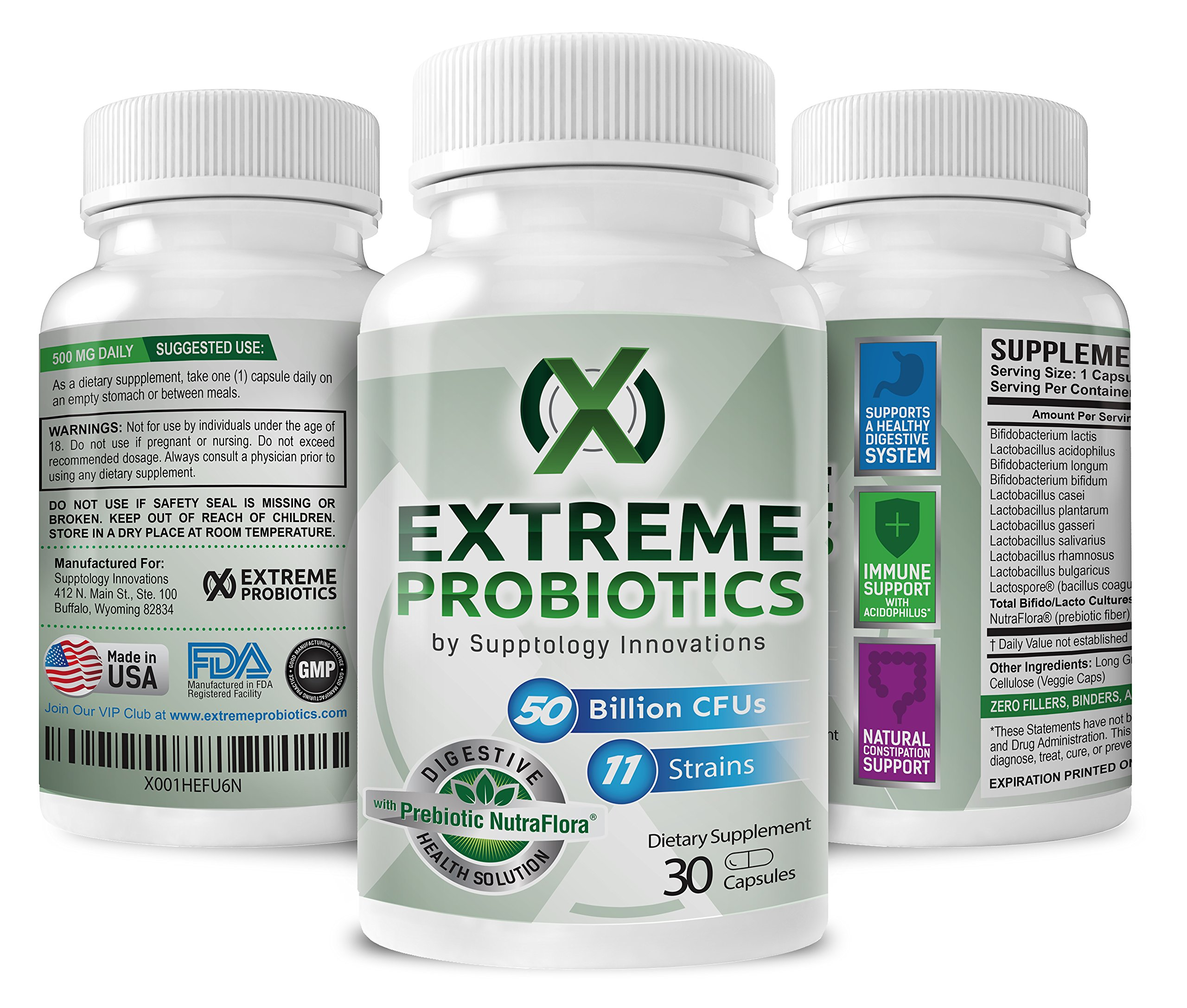 Probiotics by Extreme Probiotics w/ 50 Billion CFU & 11 Strains, Probiotic for Men and Women, High Potency Formula, Dr Rated Best, Vegan Capsules, w/ Nutraflora Prebiotic, One Per Day, 30 Capsules