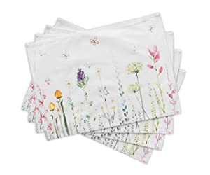 Maison d' Hermine Botanical Fresh 100% Cotton Set of 4 Placemats 13 Inch by 19 Inch
