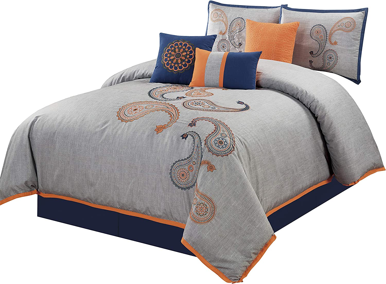 Chezmoi Collection Naomi 3-piece Paisley Floral Embroidered Duvet Cover Set