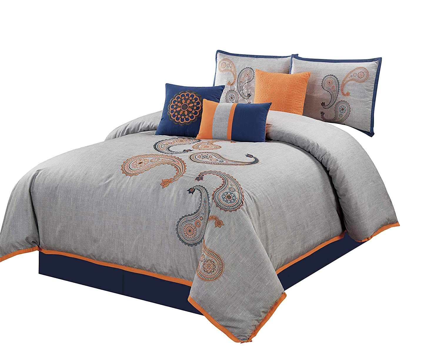 Chezmoi Collection Naomi 7-Piece Navy Orange Paisley Floral Embroidery Comforter Bedding Set (King)