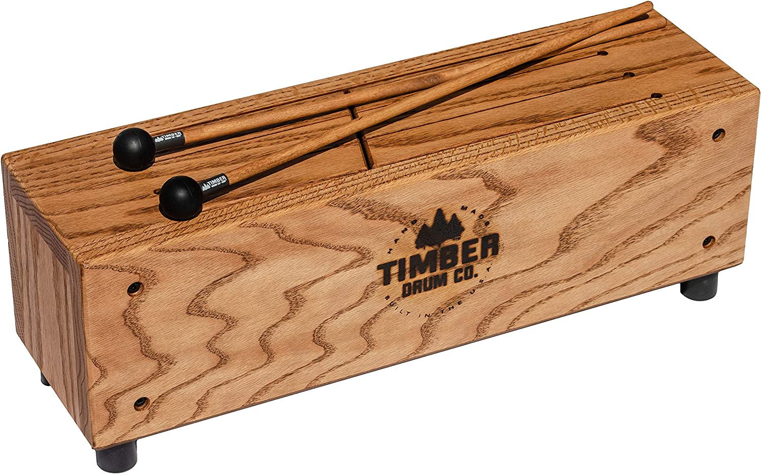 Timber Drum Co. Slit Tongue Log Drum with Mallets – MADE IN U.S.A. – Six Soft Melodic Notes from Pre-tuned Scale for Pleasant Sounds, Handcrafted Solid Tennessee Hardwood (T18-M)