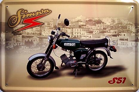 039 Blechschild Simson Garage Motorrad Moped Biker DDR 46x10 cm
