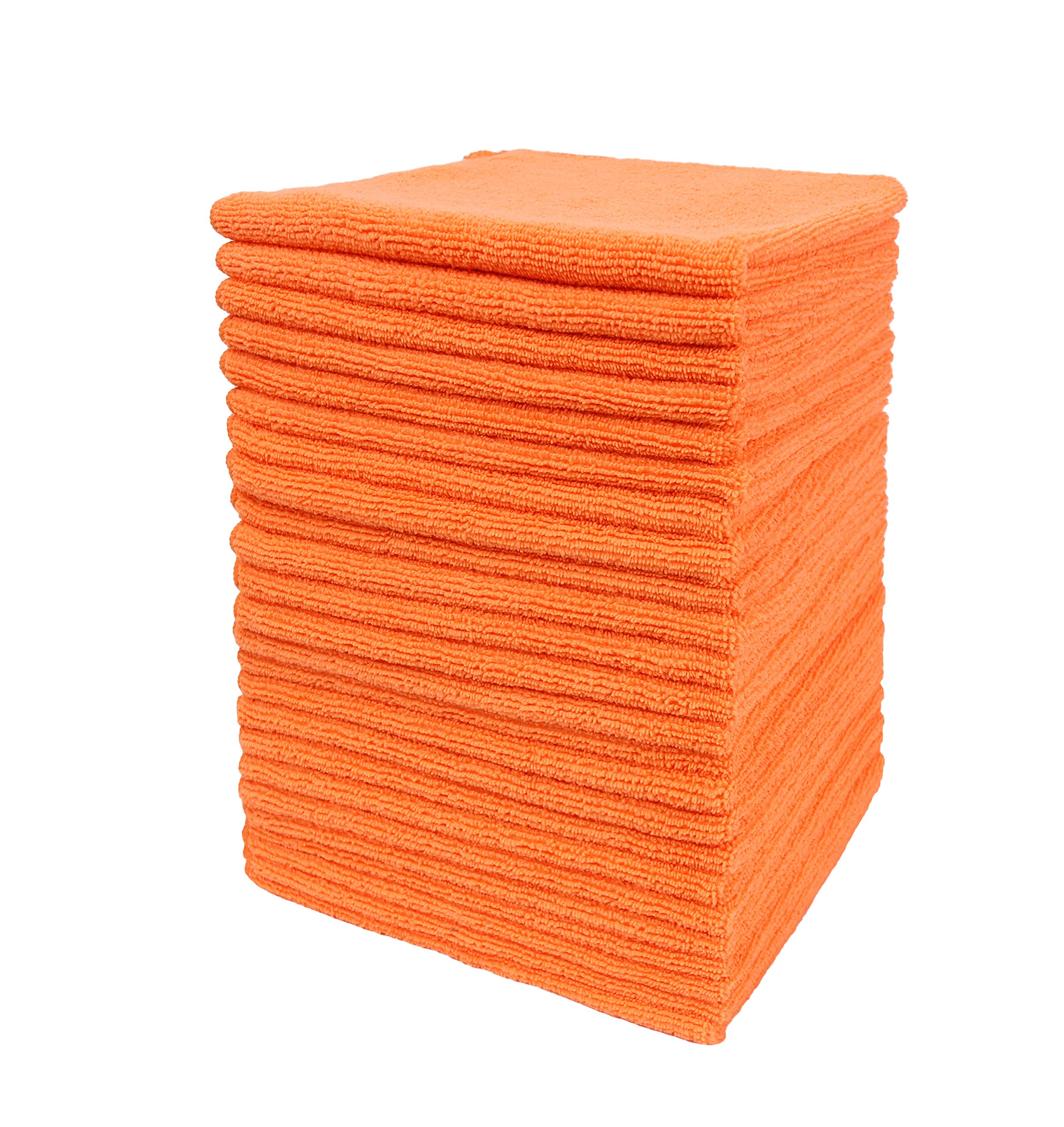Dri Microfiber Cleaning Cloth Plus 16 x 16 inch (Commerical Grade, Extra Absorb, Cleaning Power and Dry Fast) (240, Orange)