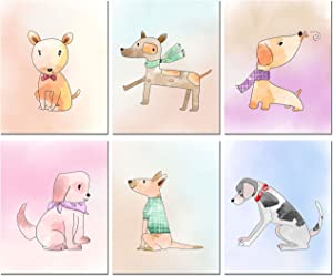 Dog Watercolor Art Prints - Set of 6 Puppy Wall Decor Photos