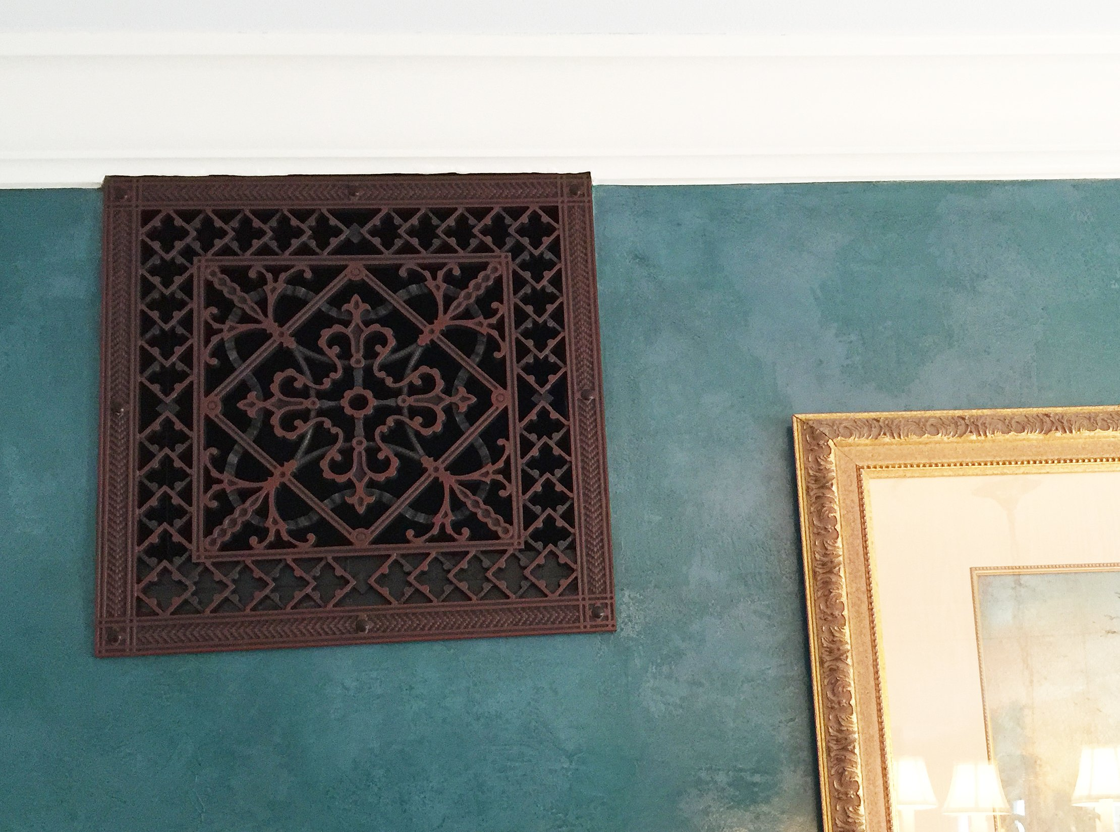 """Decorative Grille, Vent Cover, or Return Register. Made of Urethane Resin to fit over a 16''x16'' duct or opening. Total size of vent is 18""""x18''x3/8'', for wall and ceiling grilles (not for floor use)."""