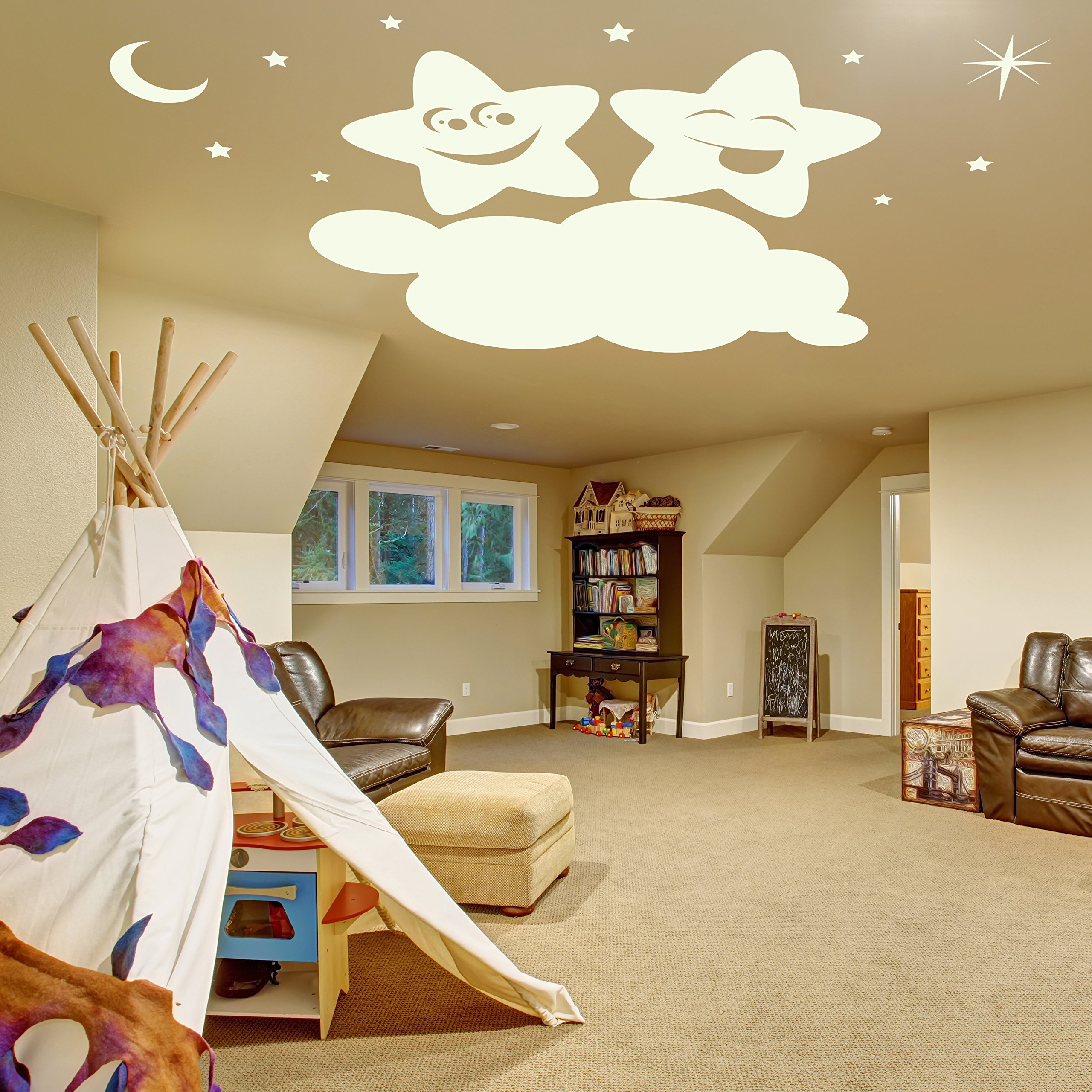 ( 79'' x 52'' ) Glowing Vinyl Wall Decal Twin Stars on Cloud / Glow in the Dark Sticker / Happy Star Luminescent Mural Kids, Baby Room + Free Decal Gift!