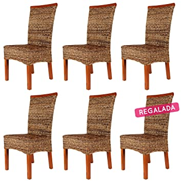 Rotin Design Lot De 6 Chaises MALIBU En Abaca