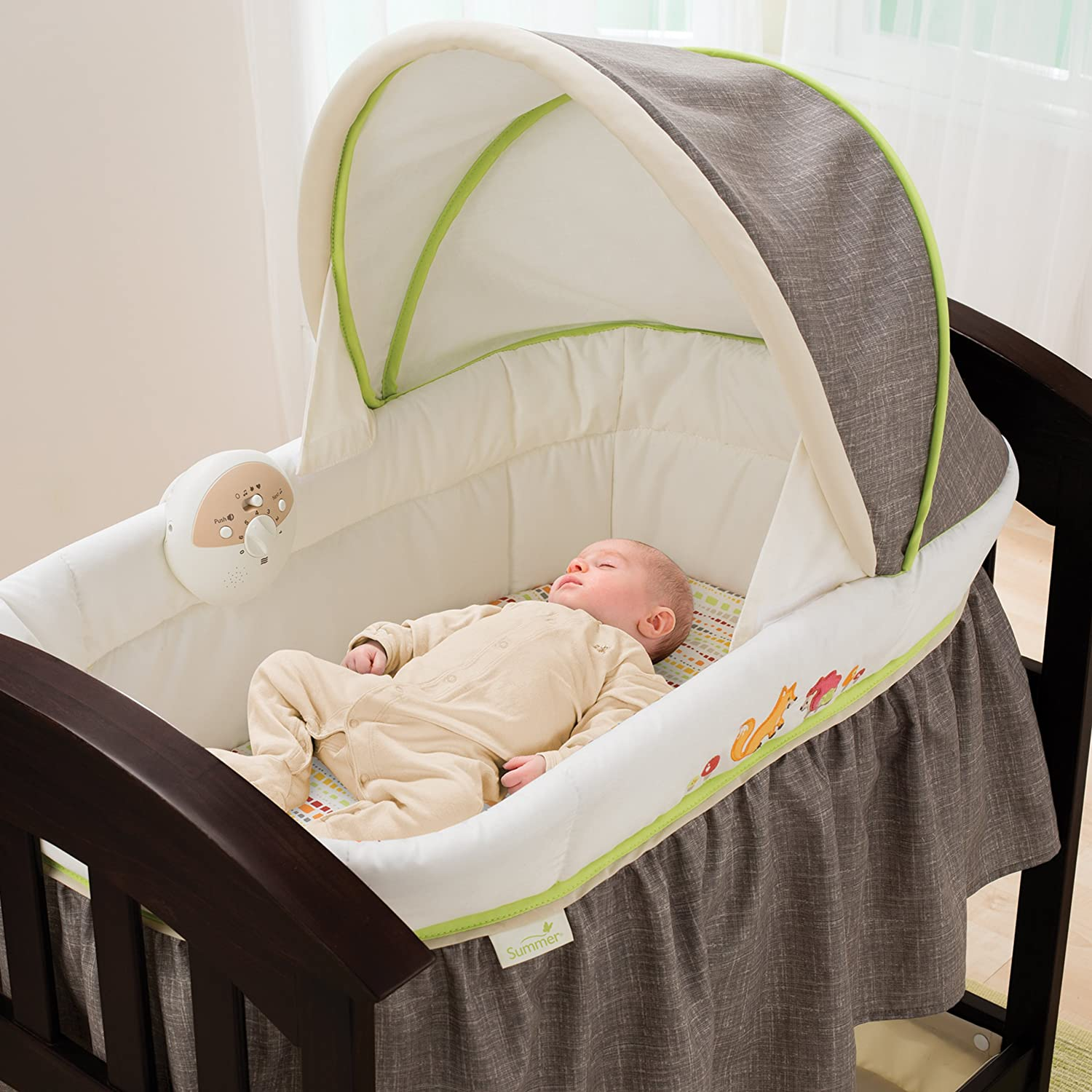Best crib for newborn baby - Amazon Com Summer Infant Classic Comfort Wood Bassinet Fox And Friends Espresso Stain Baby
