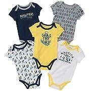 Nautica Baby Boys 5 Packs Bodysuits, Yellow/Navy/Gray, 0-3 Months