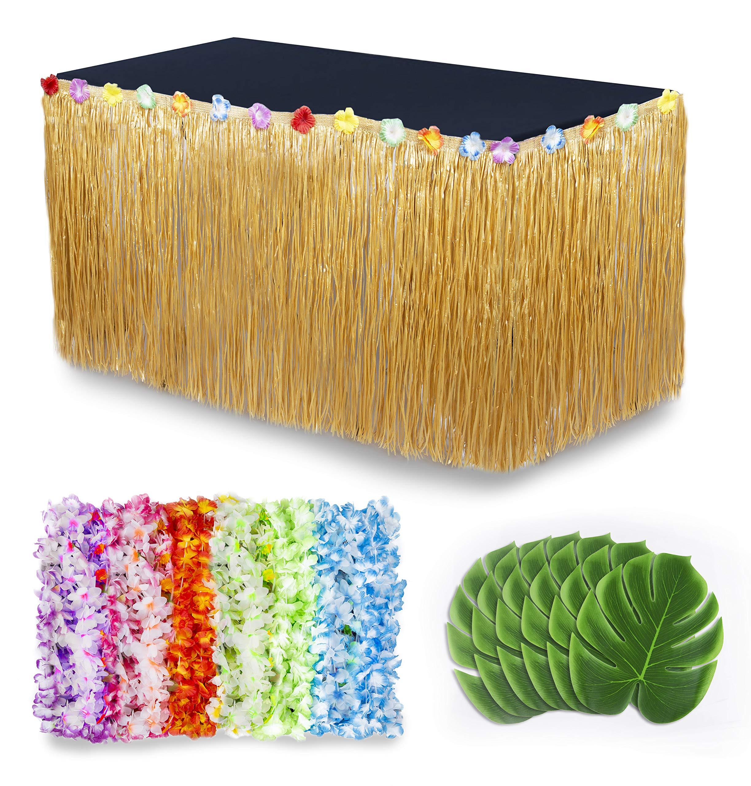 Cocowai Luau Party Decorations/Moana Party Supplies! 36x Flower Hawaiian Leis, Tropical Leaves Decoration and Grass Skirt for Buffet Table - Fun Tiki Bar, Beach Theme or Lilo and Stitch Birthday!