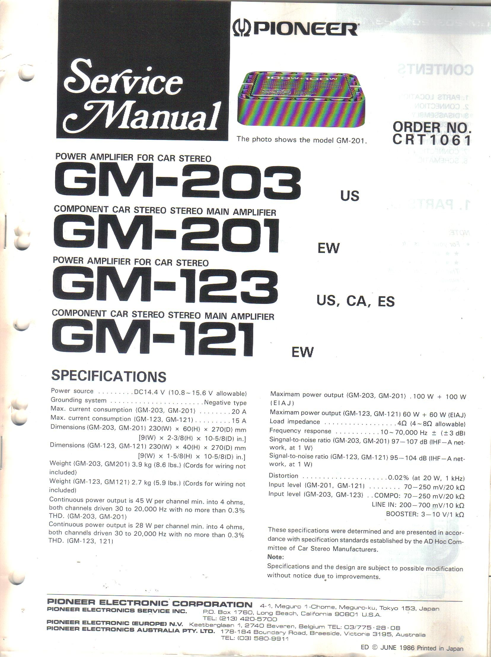 Service Manual, Parts List, Schematic Wiring Diagram for Pioneer GM-203  GM-201 GM-123 GM-121 Power Amplifier for Car Stereo: Pioneer Electronic  Corp, not stated: Amazon.com: BooksAmazon.com
