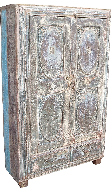 Indien Antik Massiver Schrank Mit 2 Schubladen Jh1 186 Schranke