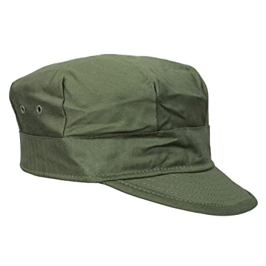 WW2 Style US M41 HBT Olive Green Cotton Peaked Field Cap  Amazon.co ... 5be2b31616e3