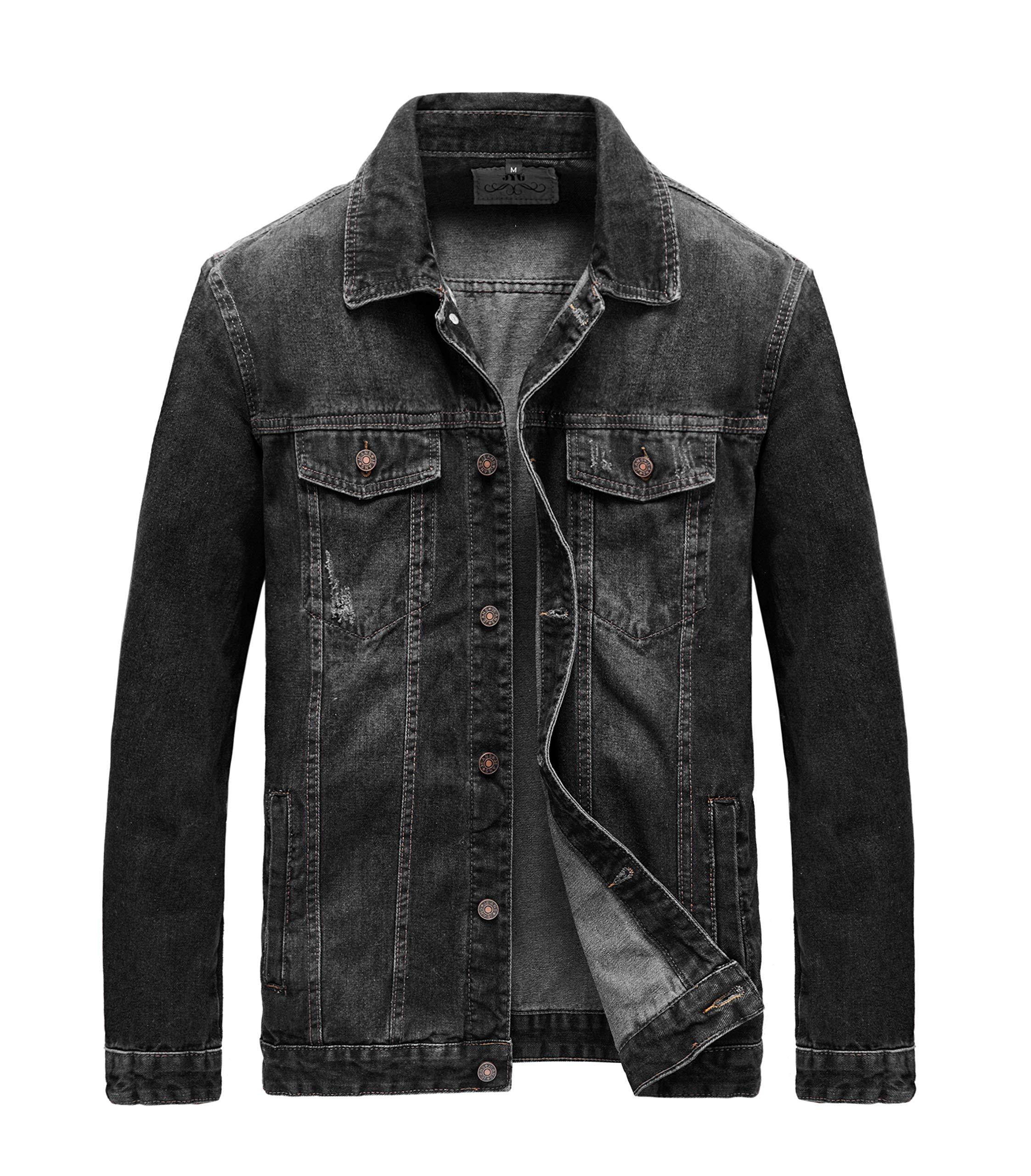 JYG Men's Casual Button Down Denim Jacket Classic Trucker Jean Coat (Black-7536, Large) by JYG