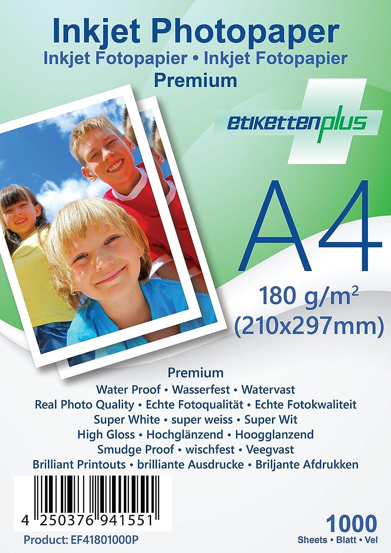 EtikettenPlus Ltd, 1000 Blatt, Premium Fotopapier, EF41801000P, A4 A4 A4 (210x297 mm) 180g qm hoch-glänzend (high-glossy), wasserfest, sofort wischfest für alle Tinten- und Fotodrucker B018NX2I3C | Verschiedene aktuelle Designs  b7c3bd