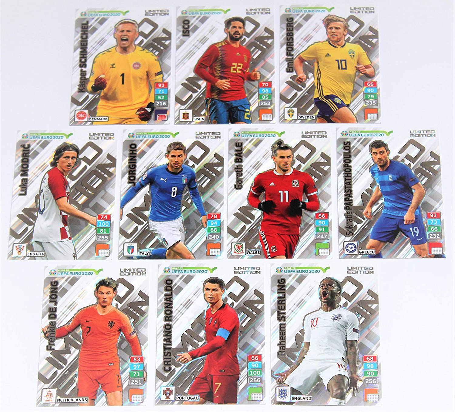 Panini Adrenalyn Road To Uefa Euro 2020 Set 10 Karten Limited Edition