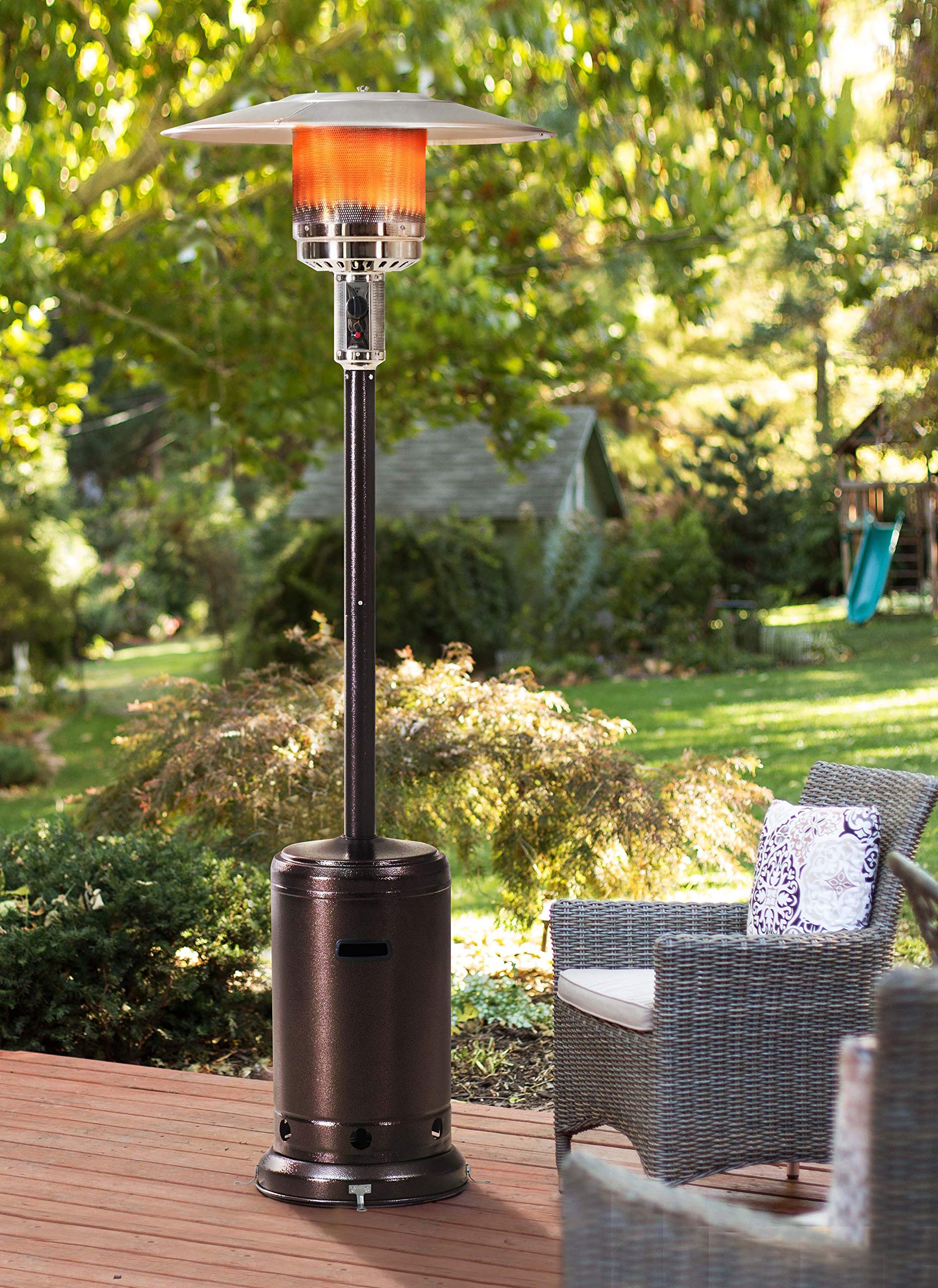 Sunjoy Lawrence Floor-Standing Patio Heater, 88'' Bronze Hammered Finished
