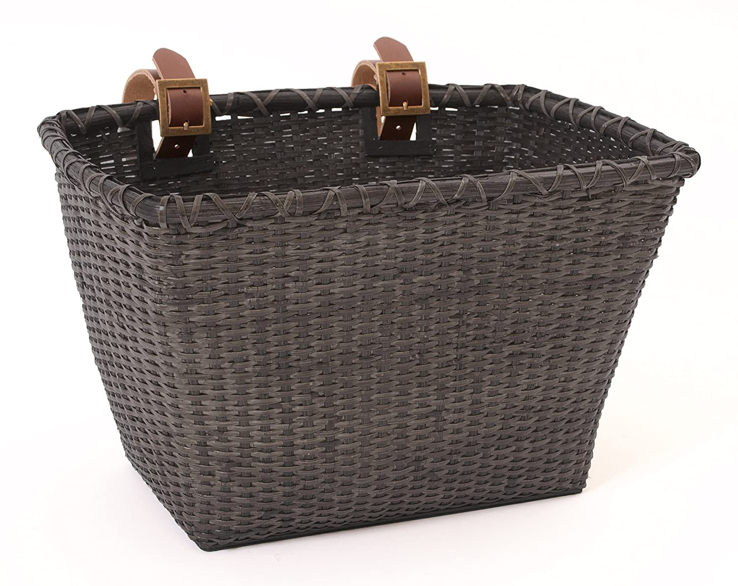 Retrospec Bicycles Cane Woven Rectangular Toto Basket with Authentic Leather Straps and Brass Buckles Xander Bicycle Corporation 1914