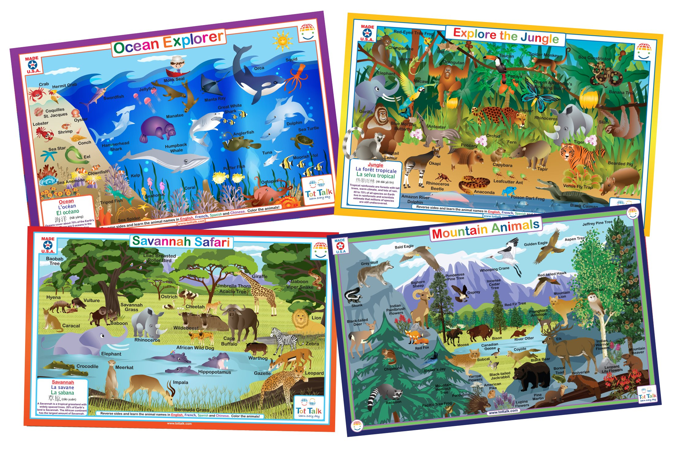 Animals Nature- Educational Kids Placemats- Set of 4 Table Mats: Ocean, Jungle, Savanna, Mountain Animals- Reversible Activities Coloring- Waterproof, Washable, Wipeable, Durable, USA-made by Tot Talk