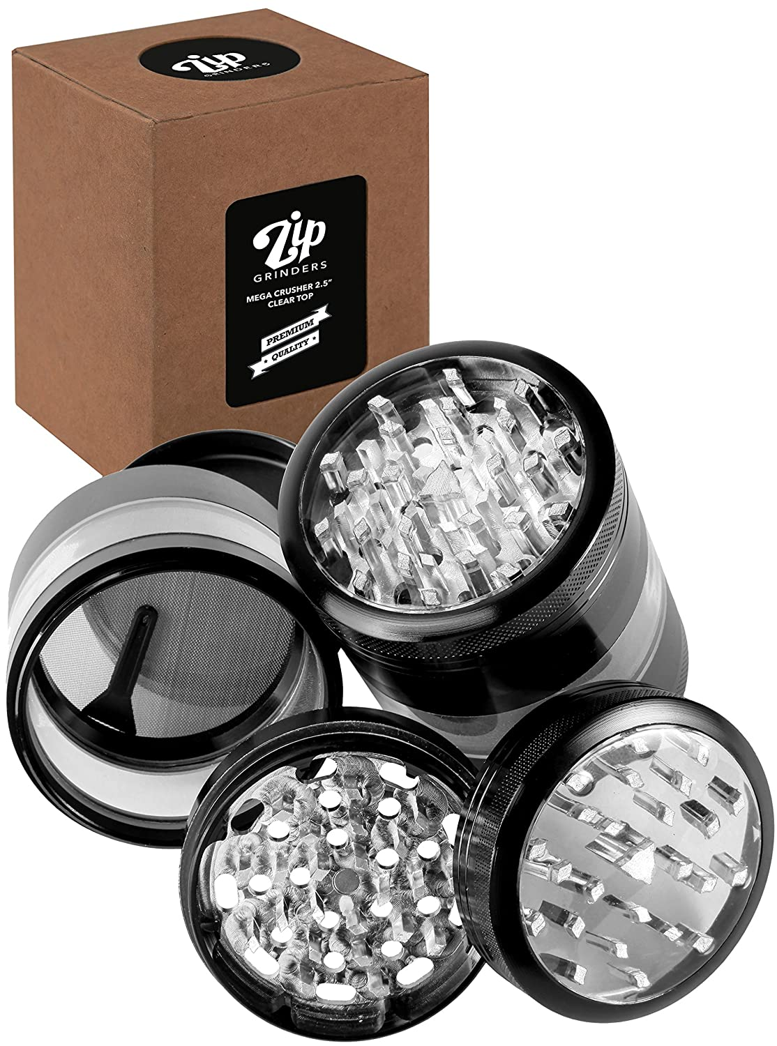 Zip Grinders - Large Herb Grinder - Four Piece with Pollen Catcher - 3.25 Inches Tall - Premium Grade Aluminum (2.5