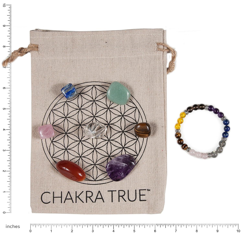 MacoodeCompany Chakra del Kit De La Verdadera Meditació n, Piedras 7 Chakras, Pulsera De Piedra Chakra Y Bono Impreso Mandala Ropa Bolsa De Transporte