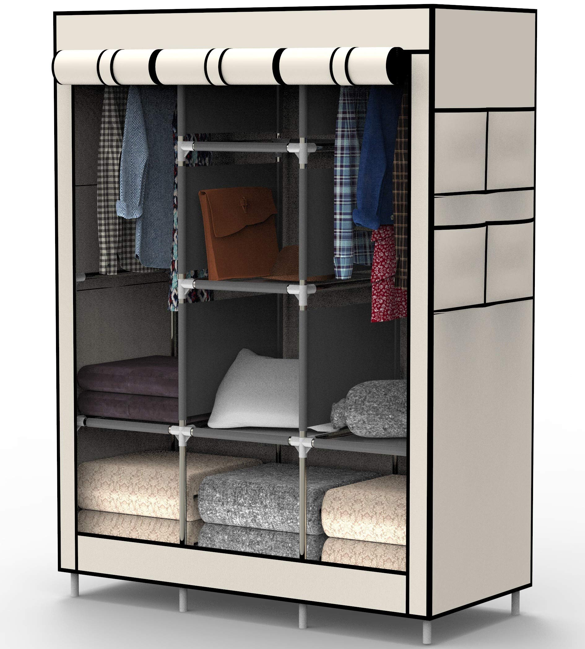 MYOUYA Clothes Closet Wardrobe - Bedroom Standing Closet Organizer for Clothing, Shoes and Accessories, 6 Cubes and 2 Hanging Sections (Beige)