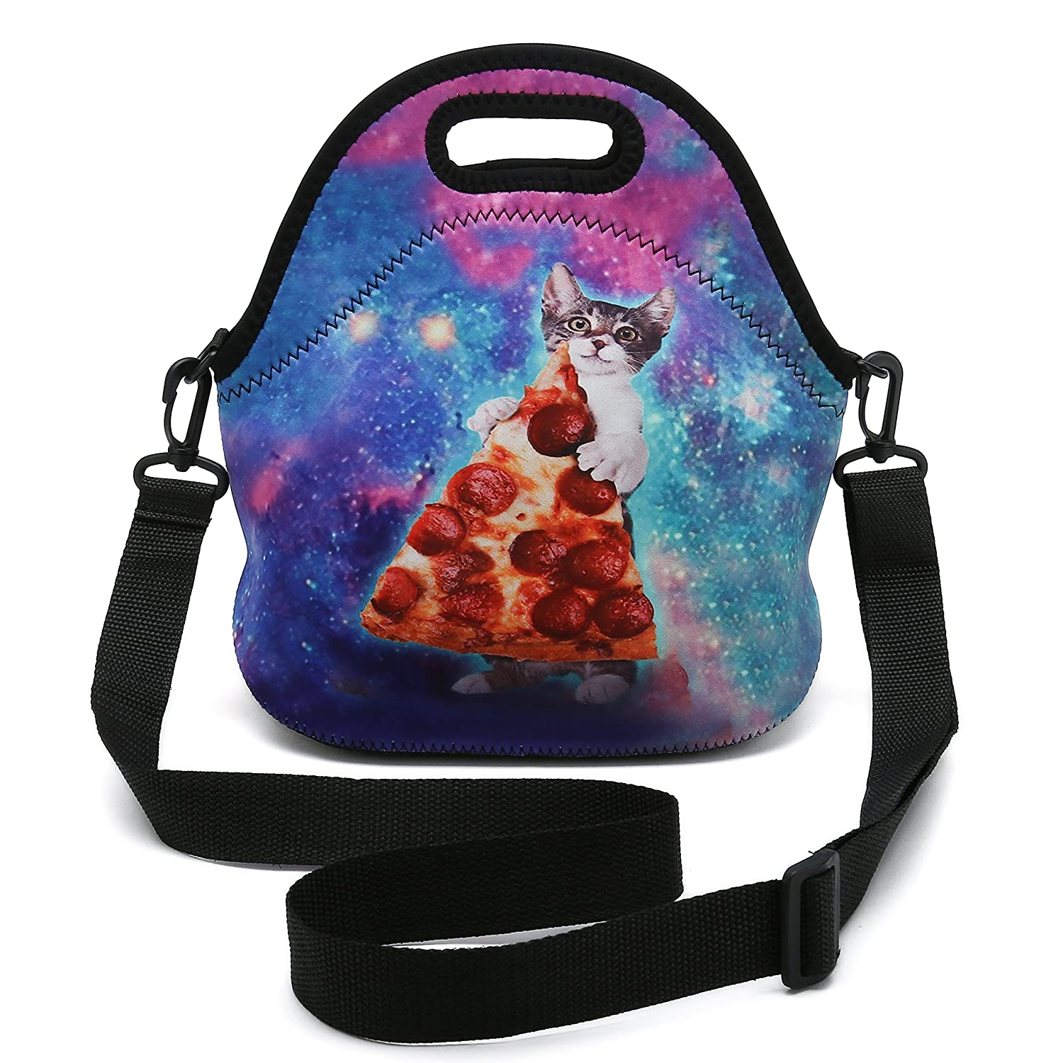 Cat Take Pizza Insulated Neoprene Lunch Bag Removable Shoulder Strap Reusable Thermal Thick Lunch Tote Bags for Women,Teens,Girls,Kids,Baby,AdultsLunch Boxes for Outdoors,Work,Office,School (Cute Pandas)