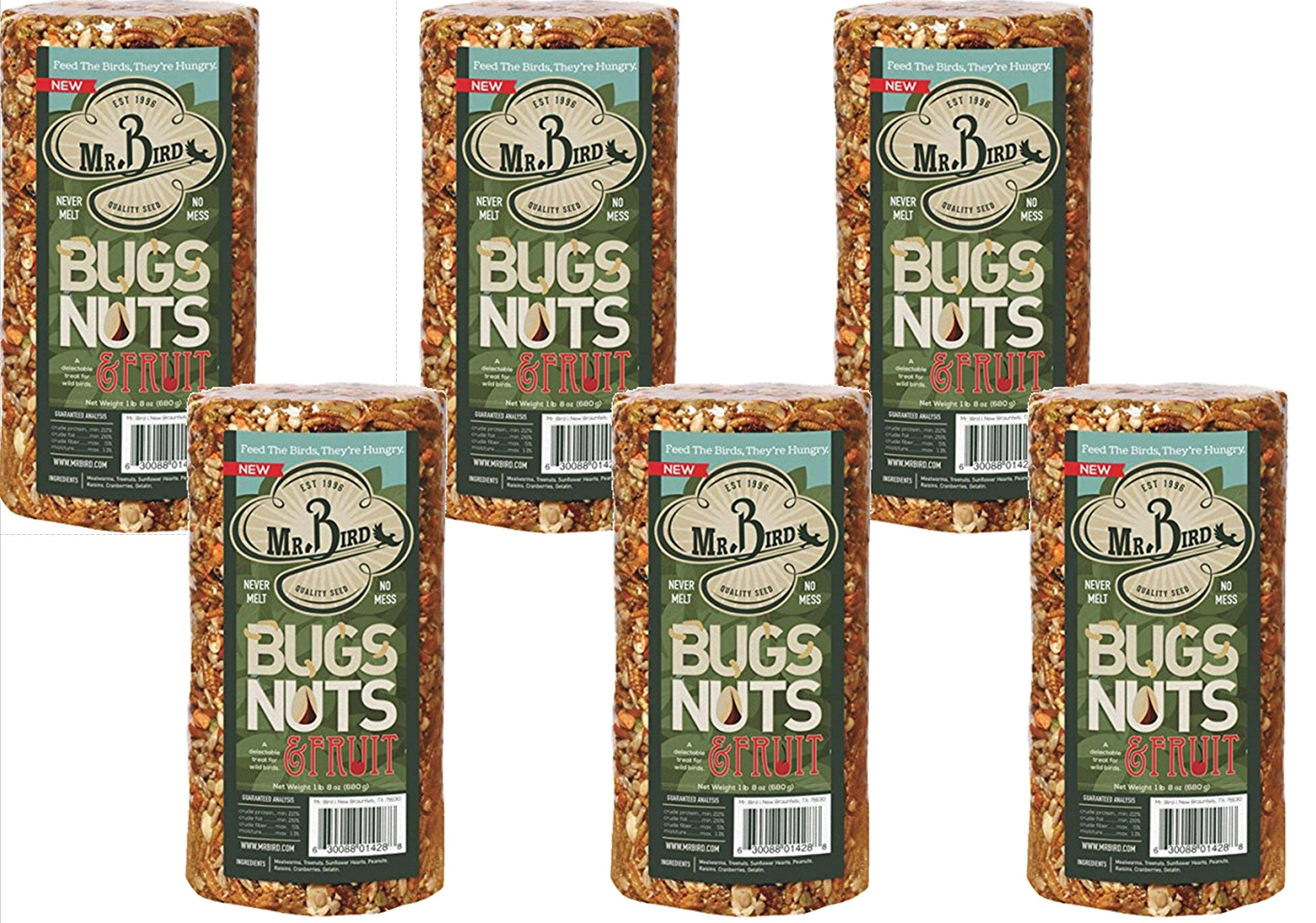 6-Pack of Mr Bird's Bugs Nuts & Fruit Small Cylinder 24 oz.