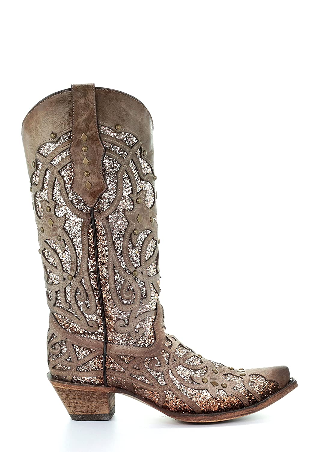 Corral Women's Luminary Glitter Inlay Studs Snip Toe Leather Cowgirl Boots - Orix B07BJCGPD8 9 B(M) US|Brown