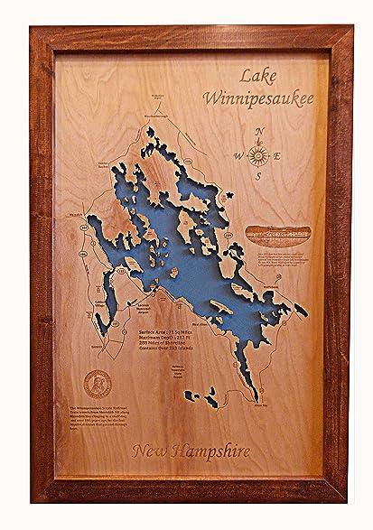 Amazon wood map wall hanging lake winnipesaukee new hampshire wood map wall hanging lake winnipesaukee new hampshire framed 14 x 17 small gumiabroncs Image collections