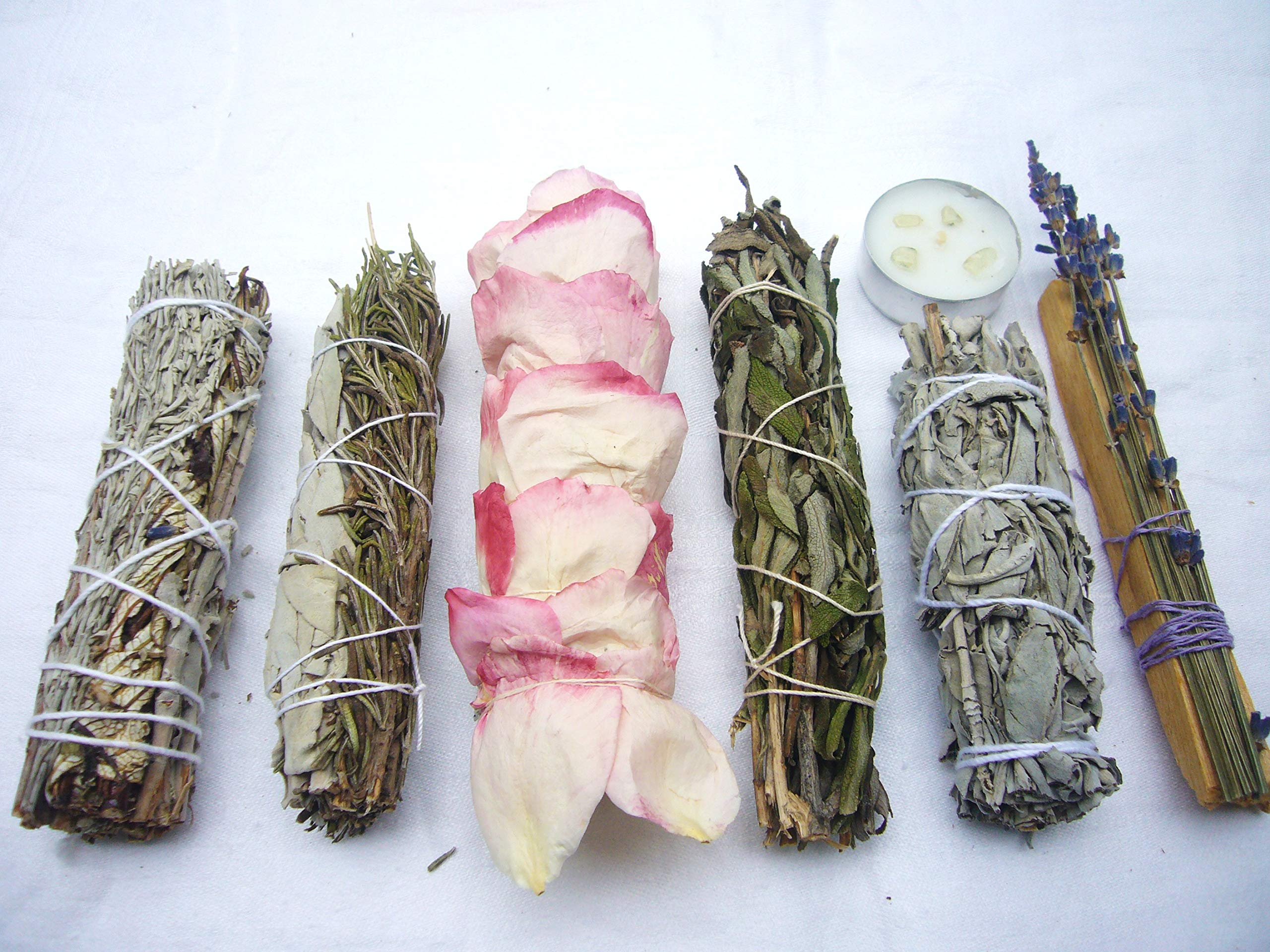 L'AMOUR yes! Luxury Smudge Kit | Rose White Sage, Rosemary, Lavender Smudge Stick, Yerba Santa & Blue Sage, White Sage, Palo Santo, Crystal Candle | Home Cleansing, Blessing, Manifesting, Rituals by L'AMOUR yes! (Image #3)