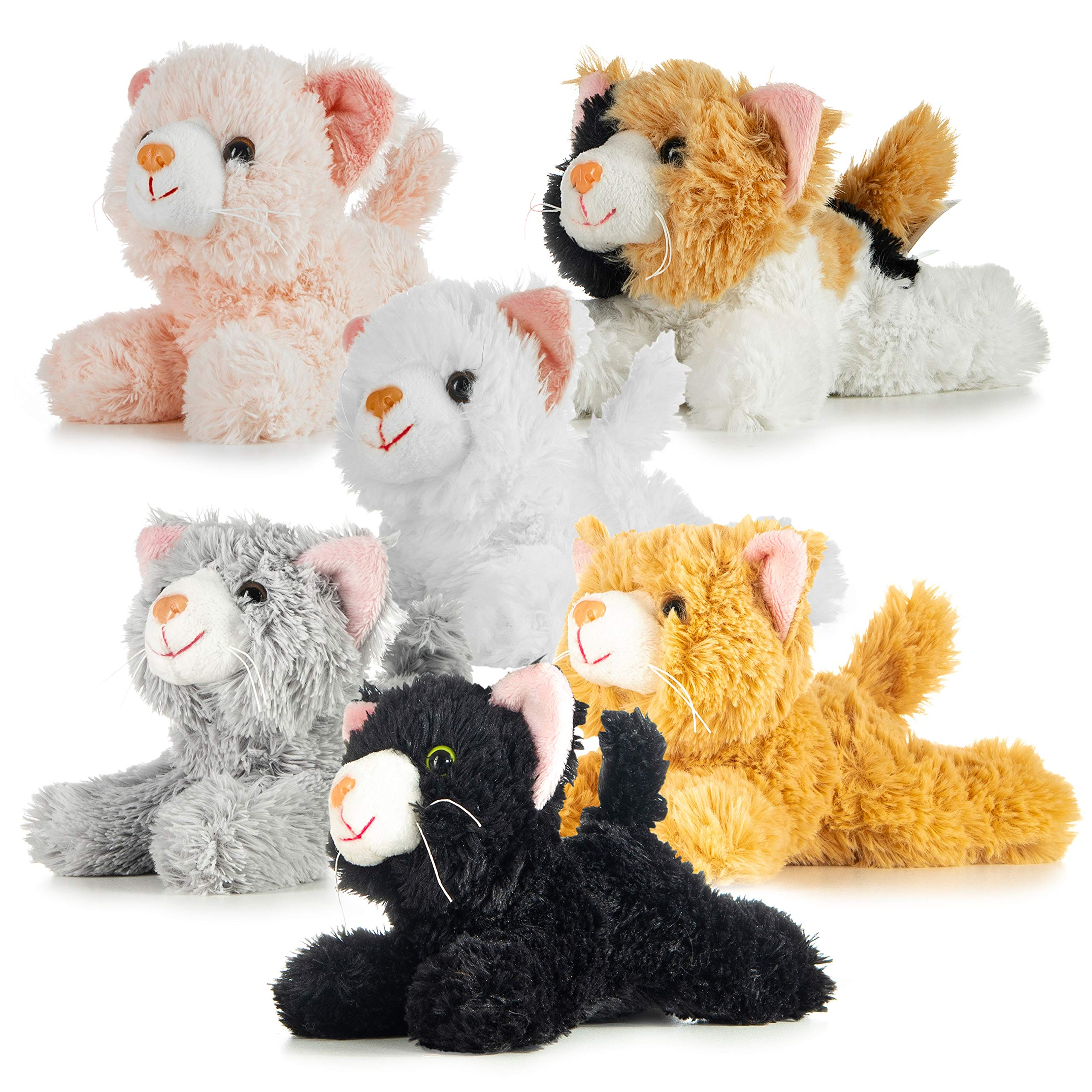 Prextex Pack of 6 Realistic Looking Plush Cats 6 Inches Long by Prextex