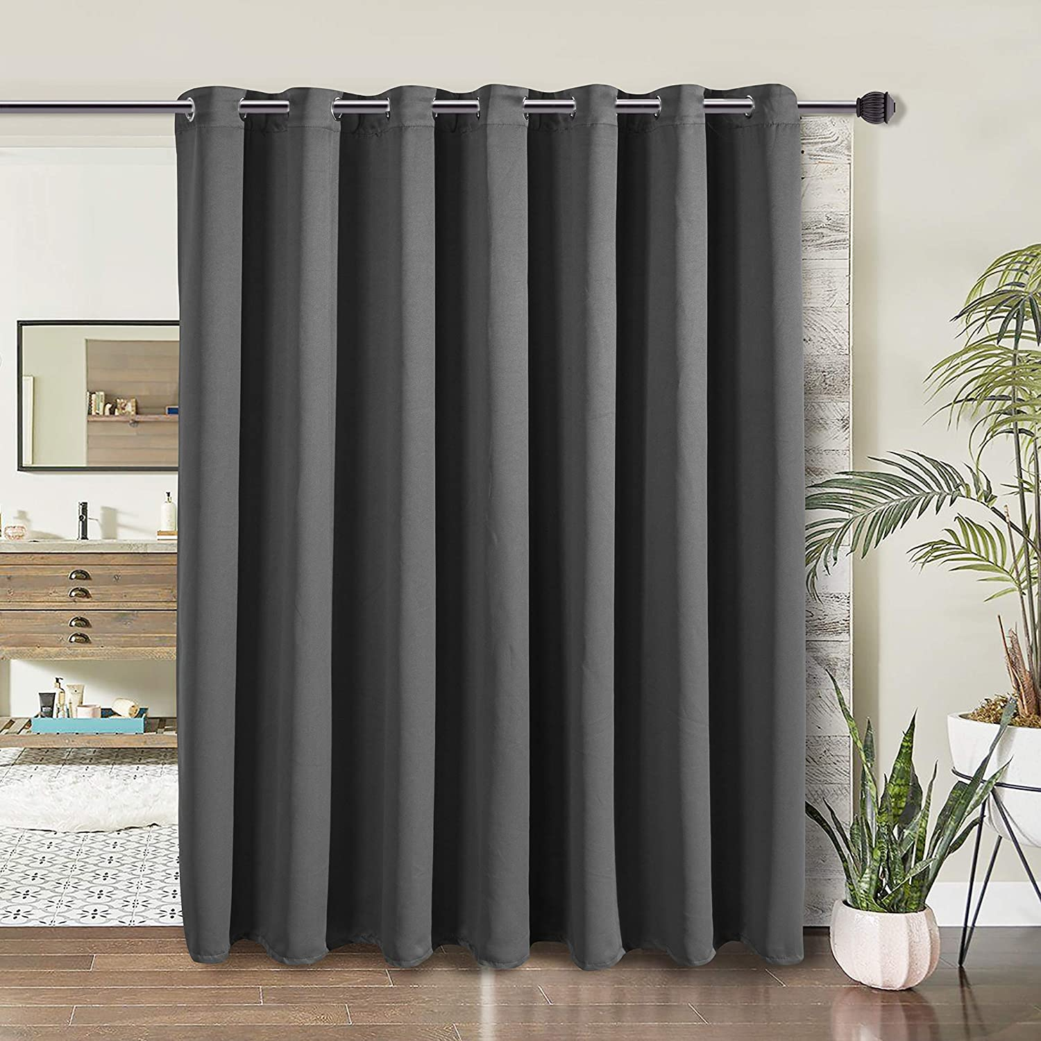 WONTEX Room Divider Curtain - Privacy Blackout Curtains for Bedroom Partition, Living Room and Shared Office, Thermal Insulated Grommet Curtain Panel for Sliding Door, 8.3ft Wide x 7ft Long, Grey