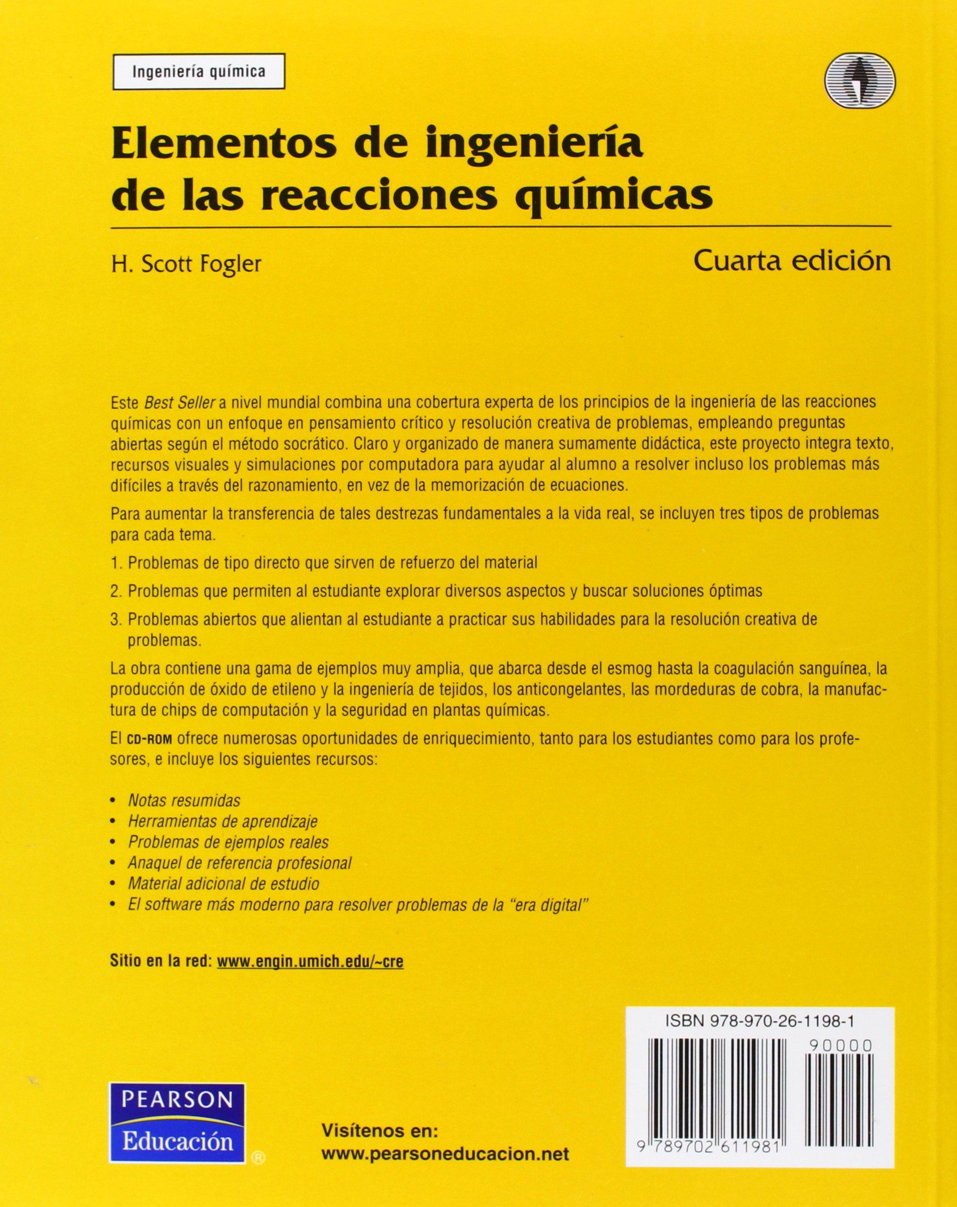 Elementos de ingenieria de las reacciones quimicas c 2 cds scott h fogler amazon com mx libros