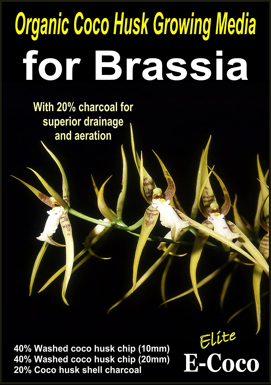 BRASSIA ORCHIDS COMPOST, ORCHID BARK SUBSTITUTE, ORCHID SOIL - READY TO USE (1 LITRE) E-COCO PRODUCTS UK