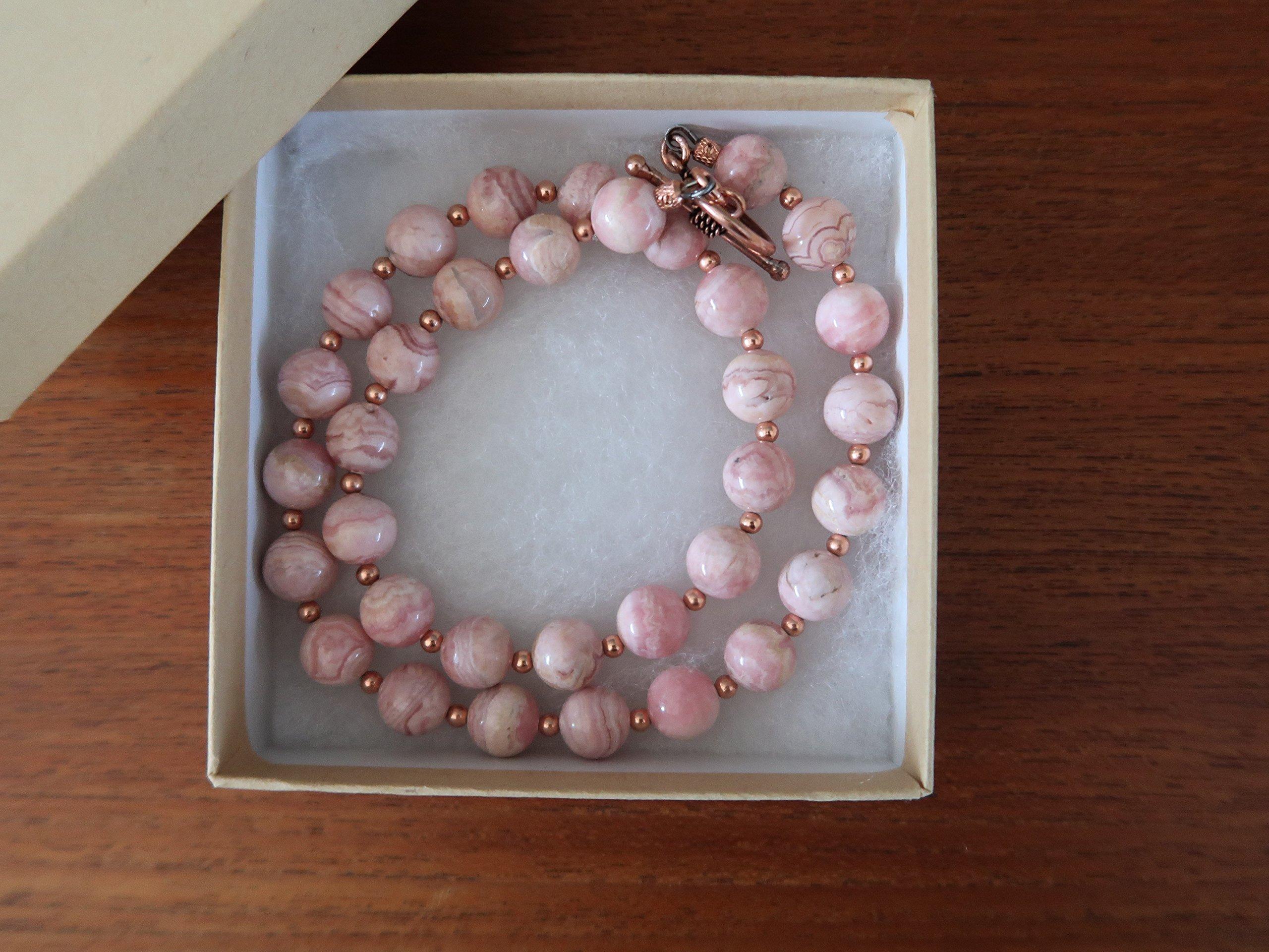 Satin Crystals Rhodochrosite Necklace Boutique Deluxe Pink Genuine Gemstone Round Beaded Copper B01 (17) by SatinCrystals (Image #2)