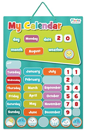 Primo Calendario.Fiesta Crafts Activity Il Mio Primo Calendario Lavagnetta Magnetica Blu