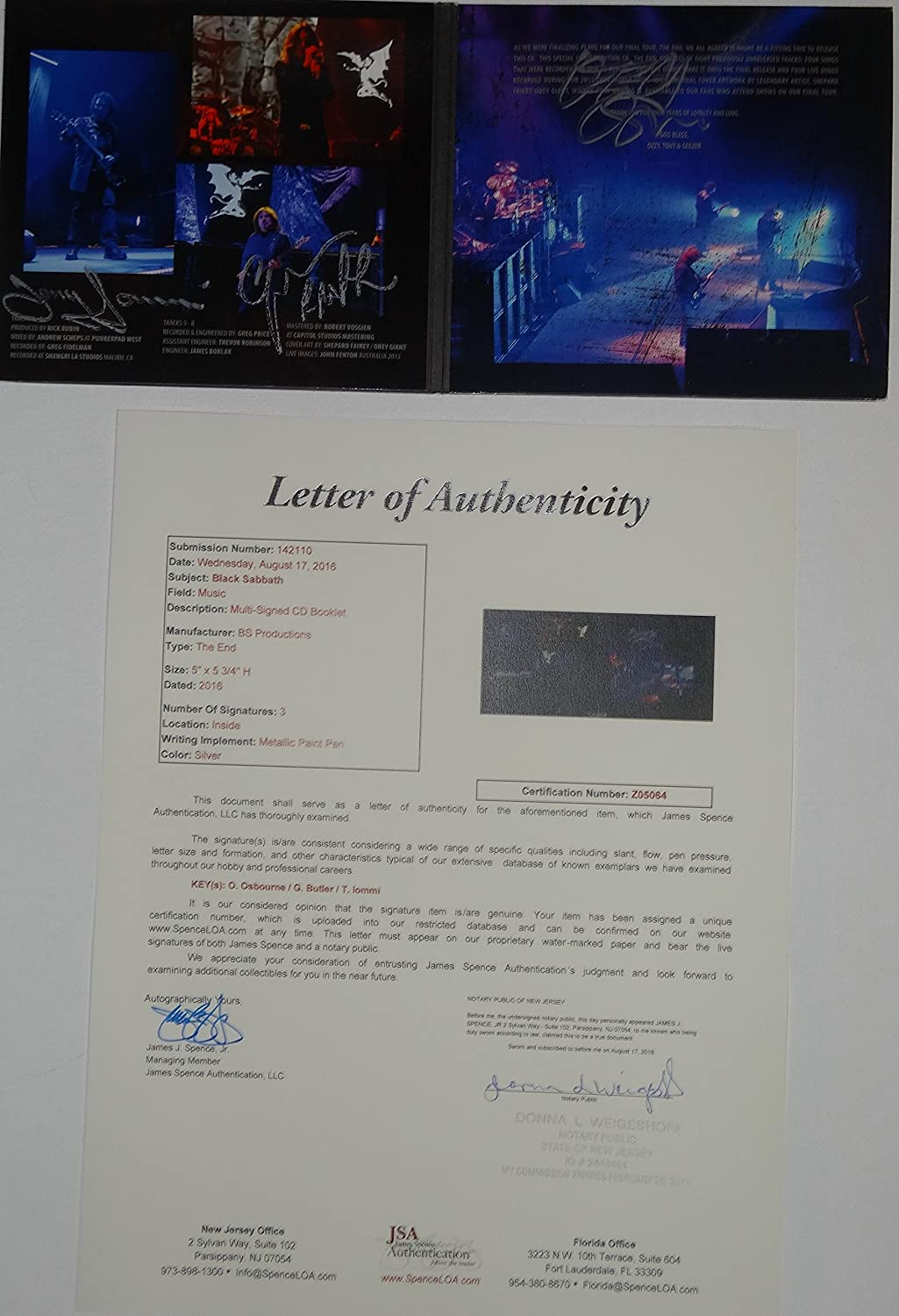 Signed Black Sabbath Autographed The End Cd Certified Authentic