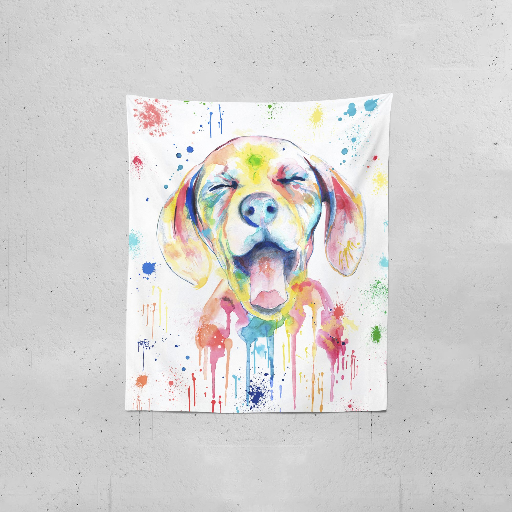 Lume.ly - Ditzy Dog Colorful Large Wall Tapestry, Exclusive Vibrant Art Decor for Bedroom Living Room Dorm Wall Decor, Wall Hanging, Beach Tapestries (50x60 inches) by Lume.ly (Image #2)