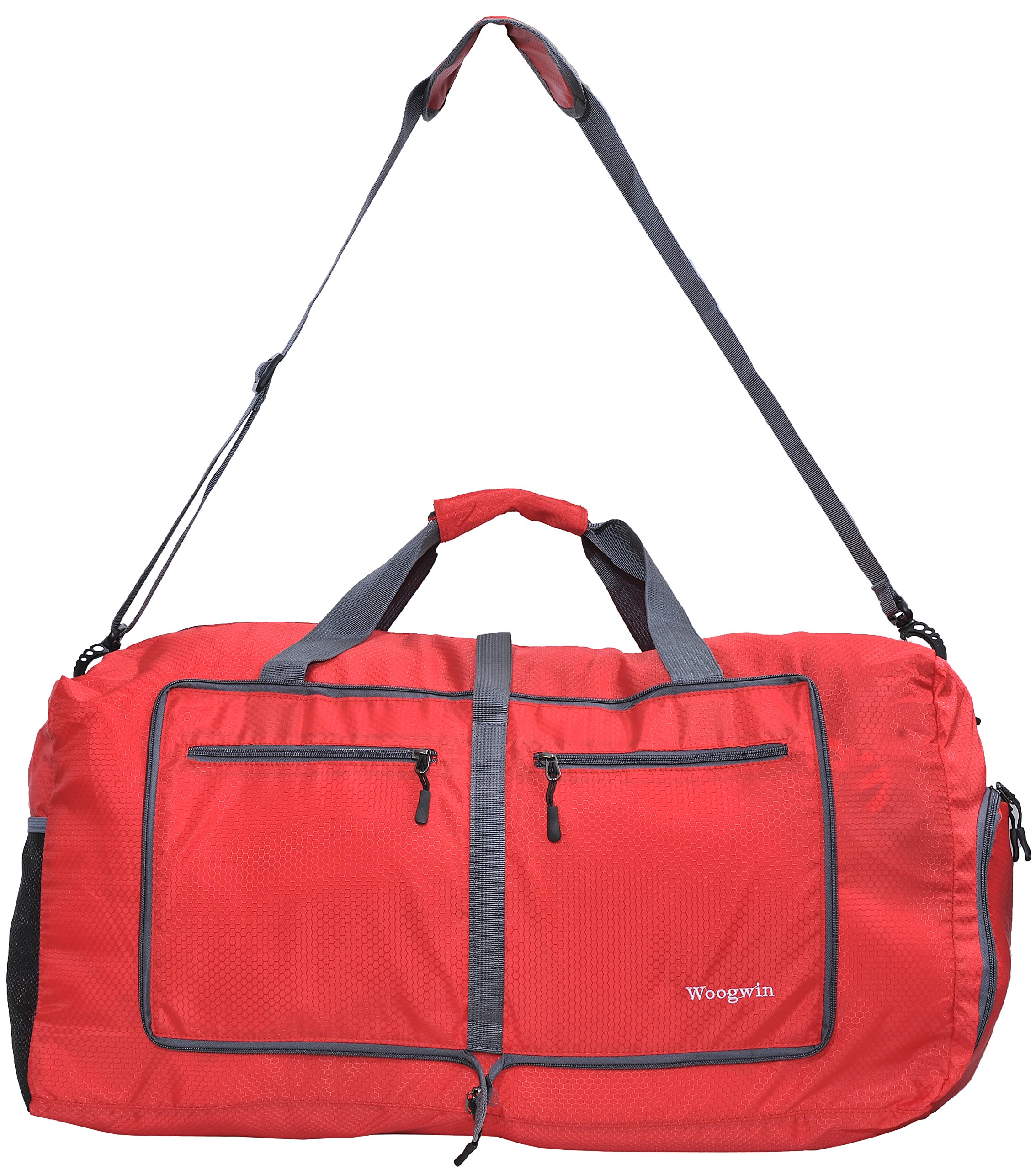 Woogwin Womens & Mens Travel Duffel Bag 60L Foldable Duffle Bags For Luggage Gym Sports (Red)