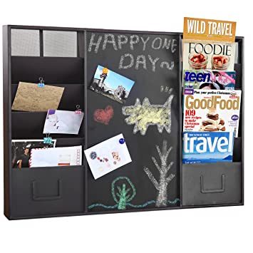 Modern Wall Mounted Brown Metal Memo Message Chalkboard / 10 Slot Document  Organizer U0026 Mail Sorter