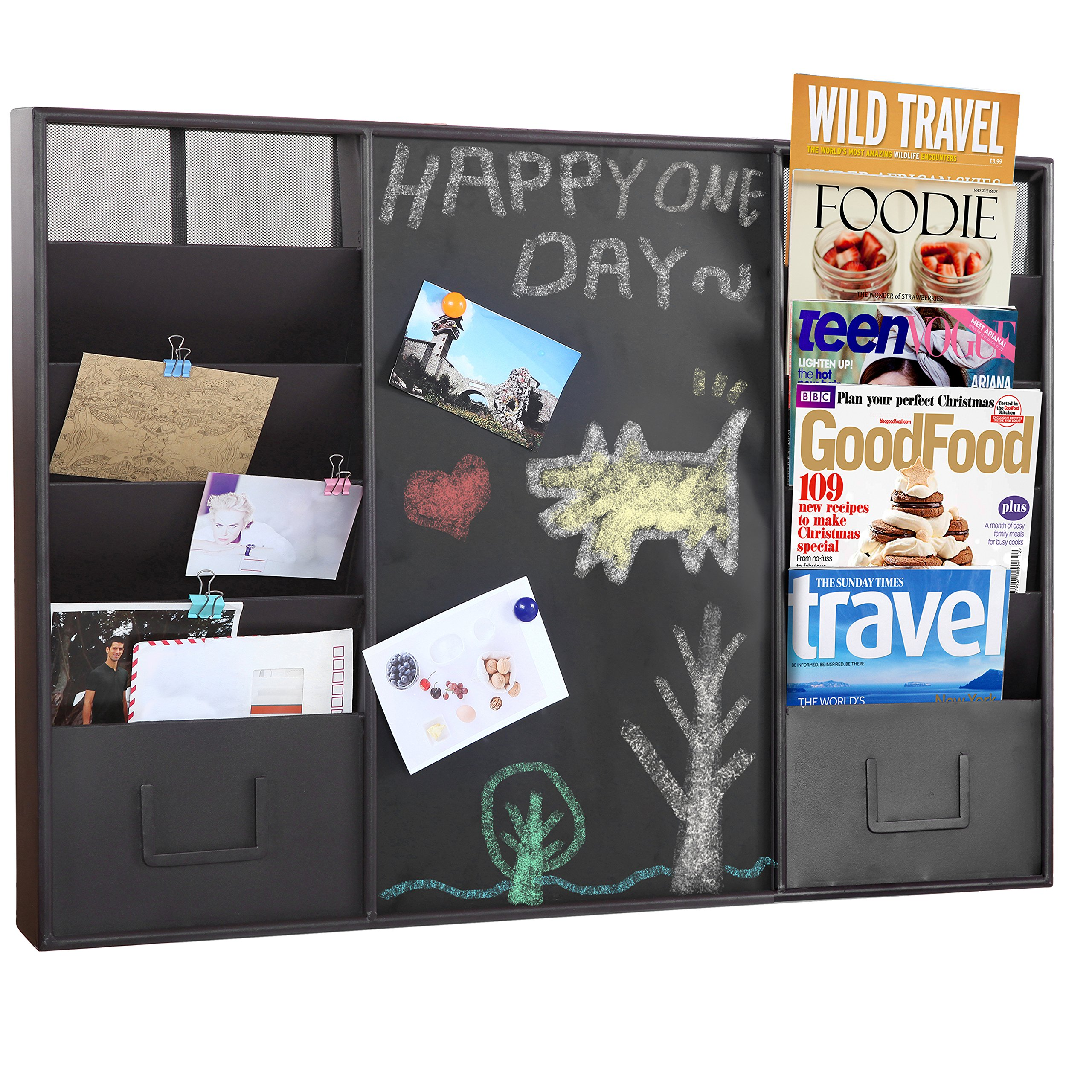 34-Inch Wall-Mounted Brown Metal Memo Message Chalkboard / 10 Slot Document Organizer & Mail Sorter Rack