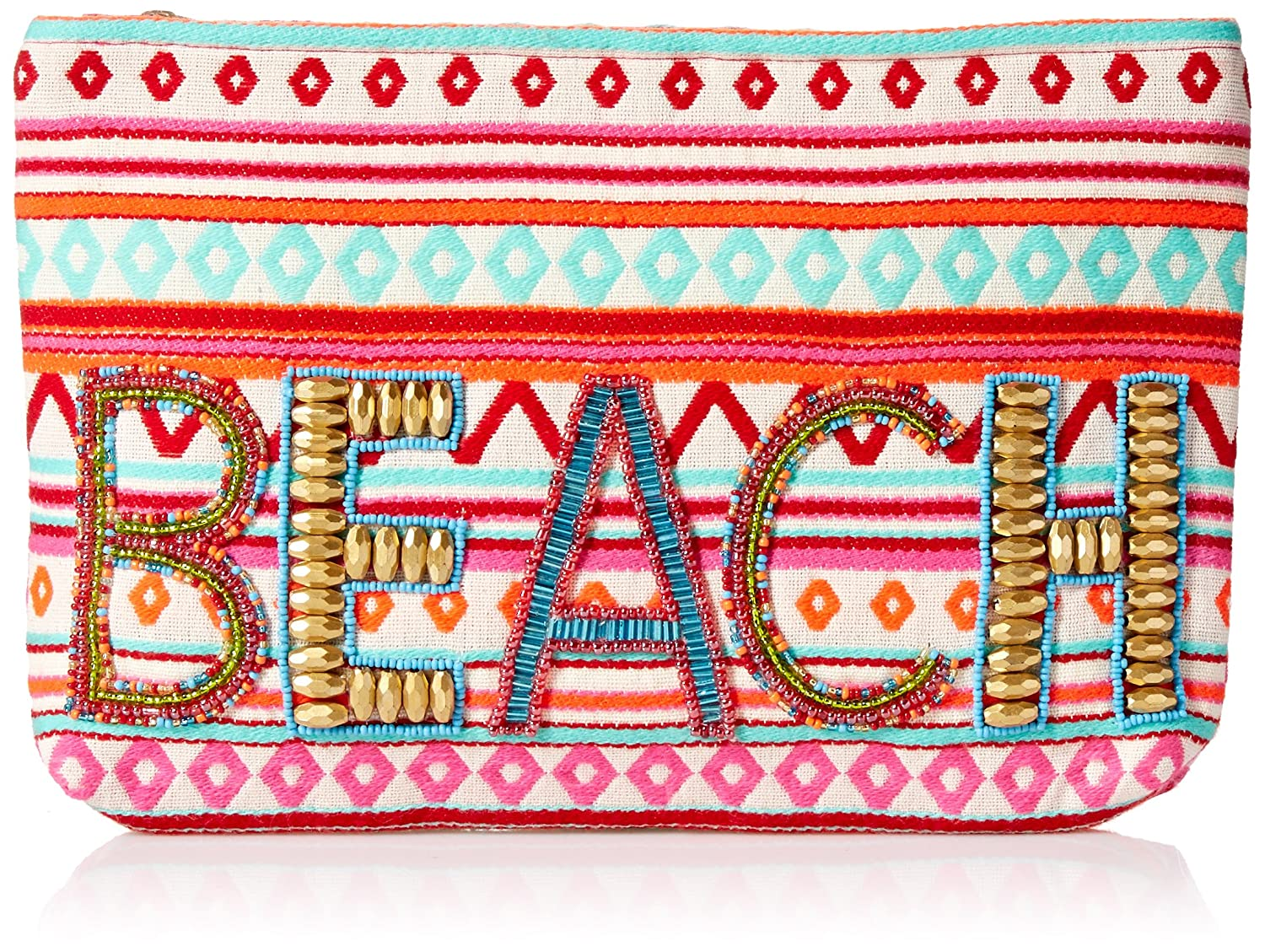 Ale By Alessandra Women's Beach and Beyond Hand Embroidered Beaded Clutch